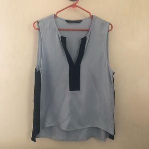 Zara Blue & Black blouse shirt Top L